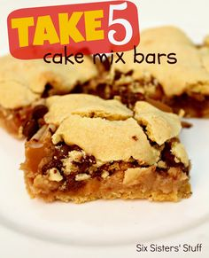 Take 5 Cake Mix Bars 1 (15.25 ounce) box yellow cake mix 2 eggs 1/3 cup butter, softened 2 Tablespoons milk 2/3 cup crushed pretzels 1/3 cup + 1/4 cup creamy peanut butter 4 ounces cream cheese, softened 1 cup powdered sugar 1 1/4 cups caramel candies, cut in half 1 cup milk chocolate chips