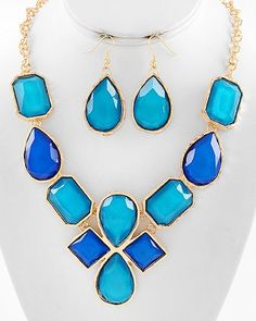 Aqua & Blue Jeweled Necklace