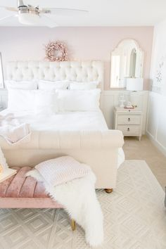 Luxurious Master Bedroom Refresh - Feminine master bedroom decor: blush pink and white master bedroom with neutral furniture and textu - Pink Master Bedroom, Pink Bedroom Design, Pink Bedroom Decor, Pink Bedrooms, Pretty Bedroom, Woman Bedroom, Girl Bedroom Designs, Blush Pink Bedroom, Bedroom Decor For Women