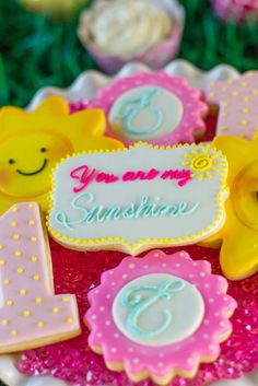Amazing cookies at a sunshine birthday party! See more party ideas at CatchMyParty.com!