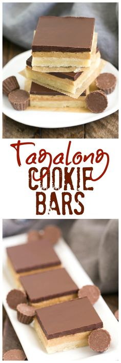 Tagalong Cookie Bars   All the amazing flavors of our favorite Peanut Butter, & Chocolate Girl Scout cookie! @lizzydo