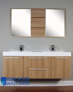 At 8047 Lo 54 Double Modern Bathroom Vanity Set Light Oak