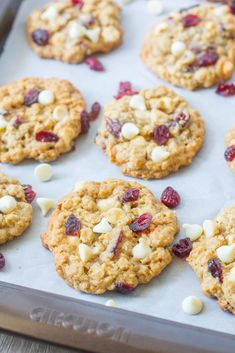 White Chocolate Cranberry Cookies, Cranberry Cake, White Chocolate Chip Cookies, Chocolate Chip Oatmeal, White Chocolate Bars, Oatmeal Cookie Recipes, Best Cookie Recipes, Sweet Recipes, Crumb Coffee Cakes