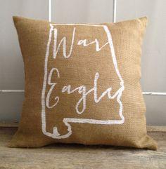 "Burlap Pillow- ""War Eagle"", Auburn University, Custom Made to Order"