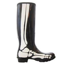 Skeleton Rain Boots Black White, 120€, now featured on Fab.