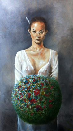 """""""Young woman with a little white feather and a bouquet of colors"""" Oil on canvas 50x90cm.אביחי כהן"""