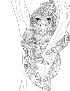 Sloth zentangle design for coloring book for adult and other decorations — Vector de stock Leaf Coloring Page, Tattoo Coloring Book, Coloring Pages To Print, Animal Coloring Pages, Mandala Coloring, Coloring Book Pages, Free Disney Coloring Pages, Sloth Drawing, Coloring Pages Inspirational