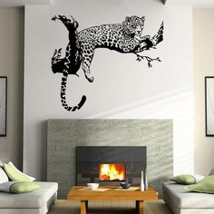 Branch Leopard Wall Sticker Home Deceration Animal Wall Decor Art Mural Unique Personality Wall Stickers PVC Clear Film Wall Stickers Tiger, Wall Stickers Animals, Animal Wall Decals, Wall Decor Stickers, Living Room Vinyl, Living Room Bedroom, Living Rooms, Art Mural, Wall Murals