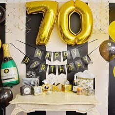 70TH Birthday Party Decorations Kit Happy Banner Number Balloons For Bday