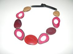 necklace brown pink and bordeaux  tagua nut beads by MaisonDelclef