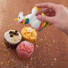 Einhorn-Streuer in Regenbogenfarben für bunte Streusel für Muffins, Kuchen und Co.