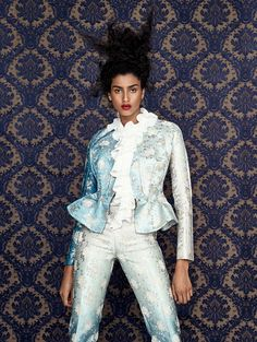 Imaan Hammam wears flower prints in a story by Patrick Demarchelier for the March 2017 issue of Vogue China, styled by Daniela Paudice.