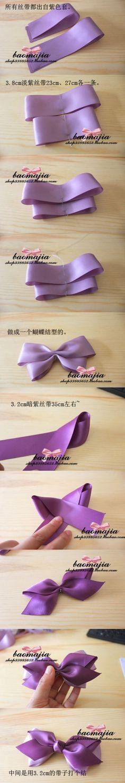 Flowers Diy Hair Bow Tutorial Ideas For 2019 Ribbon Art, Diy Ribbon, Ribbon Crafts, Ribbon Bows, Ribbon Flower, Purple Ribbon, Making Hair Bows, Diy Hair Bows, Diy Bow