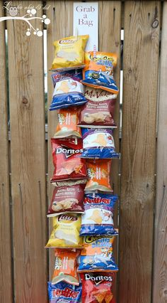 """Lookie What I Did: """"Grab a Bag"""" - A Way to Organize those Bags of Chi... // I think this is a great idea to use for alot of different things , mitts, socks . etc."""