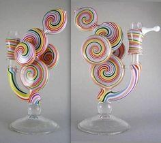 ☮ American Hippie 4:20 Glass Art ~ Cannibas Marijuana .. Spiral Color Glass Bong
