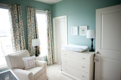 BM Wythe Blue paint - nursery colors - love the curtains (Waverly's Pom Pom Play Spa)