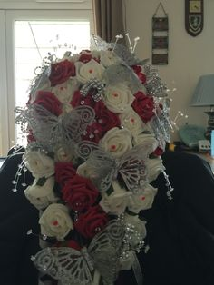 Brides teardrop Bouquet, red, Ivory & silver bling butterfly theme
