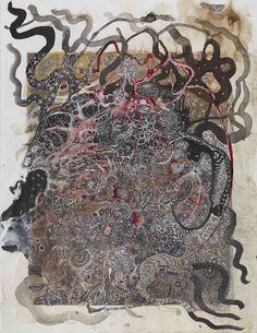 Izabella Ortiz, Morsures de songes (Bites of dream) No. 1, 2016, Mixed media on paper, 19.69 x 15.75 inches, 50 x 40 cm, IzO 2