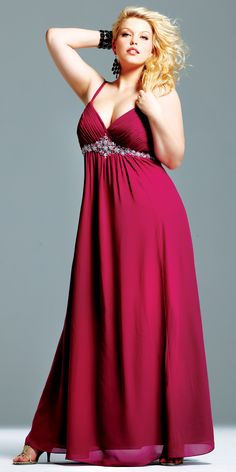 965a9added1 A-line Spaghetti Straps Sleeveless Floor-length Chiffon Fuchsia Amazing Plus  Size Prom Dress