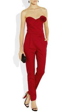 Valentino Strapless Wool-Blend Twill Jumpsuit