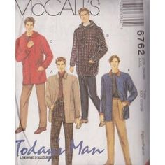 Men's Unlined Jacket And Pants McCall's Sewing Patterns 6762 (Size:XXXL 54-56)