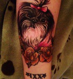 Shih Tzu dog memorial portrait tattoo. My beloved Lola.