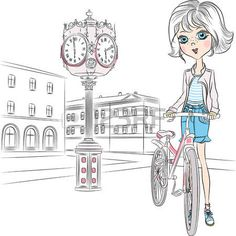 Beautiful fashion girl with a basket of flowers on a bike in front of Sacre Coeur in Paris photo