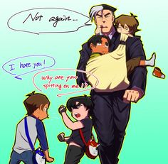 Working dad with chibi paladins by Gobusawa on DeviantArt Voltron Comics, Voltron Memes, Voltron Fanart, Voltron Cosplay, Form Voltron, Voltron Ships, Voltron Klance, Voltron Paladins, Klance Comics