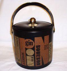 Mid Century Couroc Barware Vinyl Ice Bucket