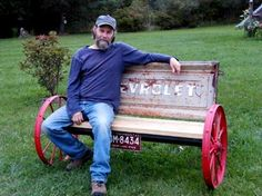 Wagon wheel tailgate bench...