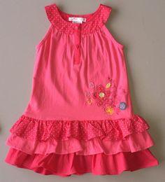 Chasing Fireflies Deux Par Deux 2T Melon Pink Dot Flower Tier Ruffle Dress