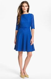 Tahari Belted Lace Fit & Flare Dress