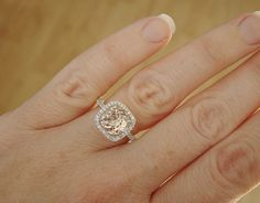 Large Halo Peach Morganite Diamond Ring Gemstone by PenelliBelle