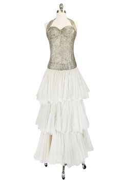 Divine Late 1920s Hand Beaded & Silk Tulle Princess Gown