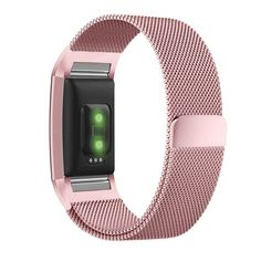 Fitbit Charge 2 Band, UMTELE Milanese Loop Stainless Steel Metal Bracelet Strap with Unique Magnet Lock, No Buckle Needed for HR Fitness Tracker Pink Gold