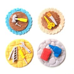 tools cupcake toppers fathers day cake decorations edible fondant hammer ladder saw drill scissor home improvement engineer I love you Dad by InscribingLives (24.99 USD) http://ift.tt/1oO9m2J