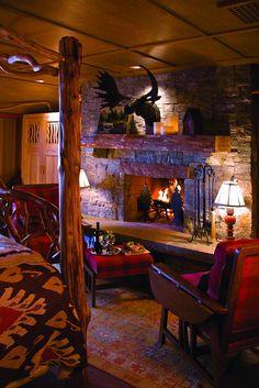 Roaring fireplace at Lake Placid Lodge NY Cabin Homes, Log Homes, Home Living Room, Living Room Decor, Lake Placid Lodge, Rustic Fireplaces, Cabin Fireplace, Bedroom Fireplace, Rustic Apartment