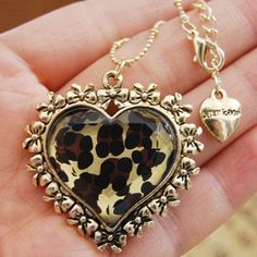Sexy Leopard Heart Pendant Necklace by Betsey Johnson! <3