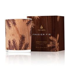 Thymes Frasier Fir Northwoods Candle with Burn Ounces, Design Scented, Wood Tones, Wrapped in Wood Veneer, 6 Ounce Wood Wick Candles, Best Candles, Scented Candles, Paraffin Wax, Holiday Traditions, Wood Veneer, Wood Design, The Fresh, Candle Holders