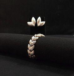 MONET Silver Tone Leaves Bracelet and Earring Set by KatsCache
