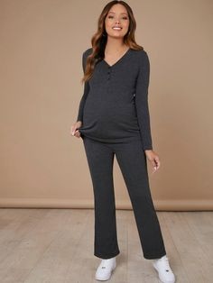 Maternity V-neck Button Front Top With Flare Leg Pant Pajama Set