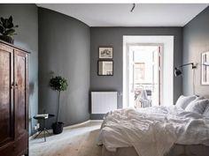 Serene gray bedroom, bedroom wall, bedroom decor, home bedroom, master bedr Grey Bedroom Furniture Sets, Interior, Home Bedroom, Dark Gray Bedroom, Bedroom Interior, Cozy Bedroom Colors, Bedroom Colors, Remodel Bedroom, Grey Bedroom Paint