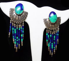 Holiday 2015 Sale - Marked Down 20% ! #GiftIdeas Holiday Sale!!!  Southwestern Sterling Silver Earrings for Pierced Ears with Azurite Beads - Native American Indian Signed TK offered by #TheJewelSeeker on Etsy  Style: Thes... #vintage #jewelry #teamlove #etsyretwt #ecochic #southwestern #thejewelseeker