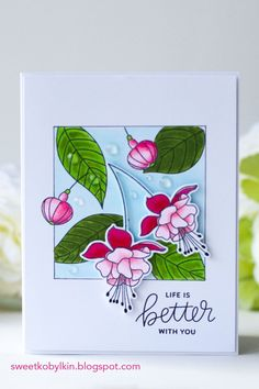In this post I demonstrate a card made with a simple masking technique with Pretty Pink Posh Flourishing Fuchsias stamps and dies set Flower Stamp, Flower Cards, Card Making Tutorials, Making Ideas, Handmade Birthday Cards, Handmade Cards, Pretty Pink Posh, Copic Sketch Markers, Shaker Cards