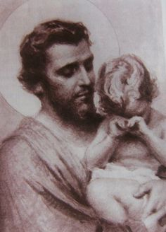 St. Joseph. I don't believe I've ever seen this. St. Joseph holding baby Jesus, crying. I so love St. Joseph!