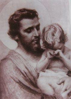 San José y Jesús..Es la primera vez que veo una estampa donde el niño Jesús esté llorando.