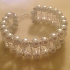 Pearl & Crystal Memory Wire Cuff, Wedding Jewellery, Pearl Bracelet, Bangle, Bridal, Gift, Handmade by MariposaByDesign on Etsy