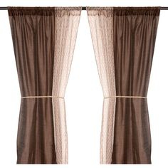 Empire Chocolate 6-piece Curtain Panel Set, 84 in. ($20) found on Polyvore featuring home, home decor, window treatments, curtains, sheer window panels, window coverings, sheer draperies, window panels and chocolate curtains