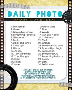 Daily Photo Prompts and Ideas for Project Life