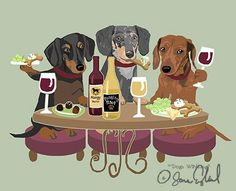 How about a dinner party with her doxie friends? Dachshund Funny, Dachshund Art, Dachshund Puppies, Daschund, Vintage Dachshund, Weenie Dogs, Doggies, Dog Rules, Dog Art